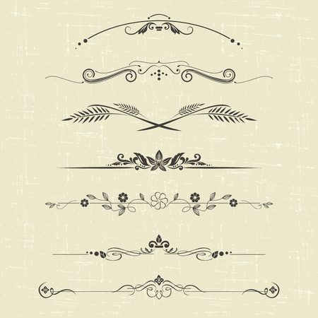 set of design elements and ornamental vintage  decoration Vectores