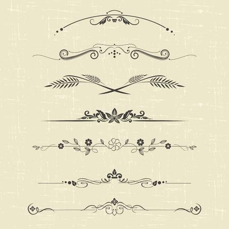 lineas decorativas: conjunto de elementos de diseño y decoración ornamental de la vendimia Vectores
