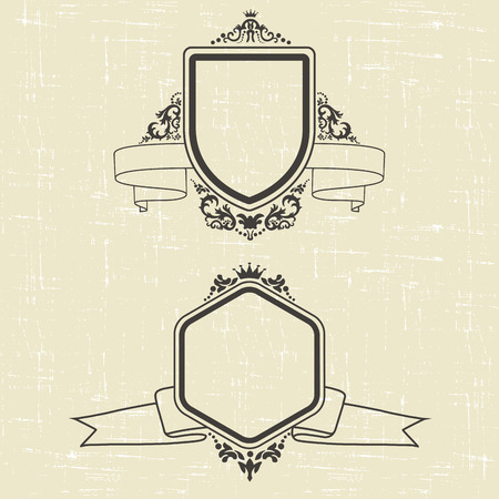 set of design elements and ornamental vintage  decoration. vector illustration