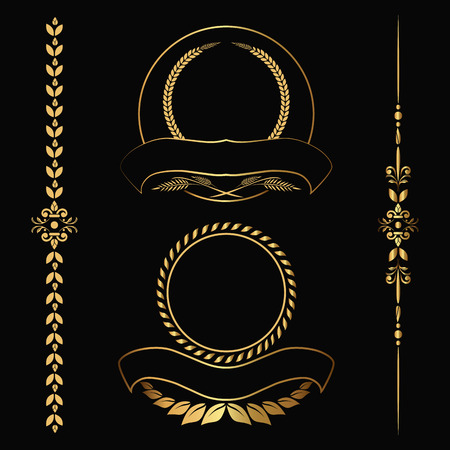 Set of design gold elements and ornamental vintage  decoration. Vector illustration Ilustração