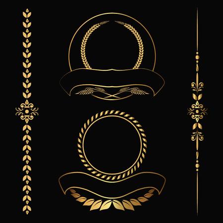 Set of design gold elements and ornamental vintage  decoration. Vector illustration 向量圖像