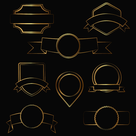 curled up: Set of gold contour ribbons and icons. Vector illustration