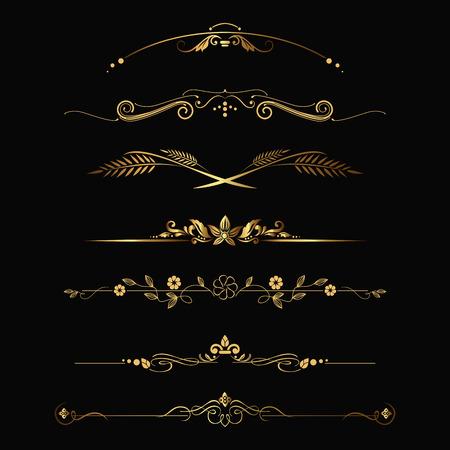 Set of design gold elements and ornamental vintage decoration. Vector illustration Vettoriali