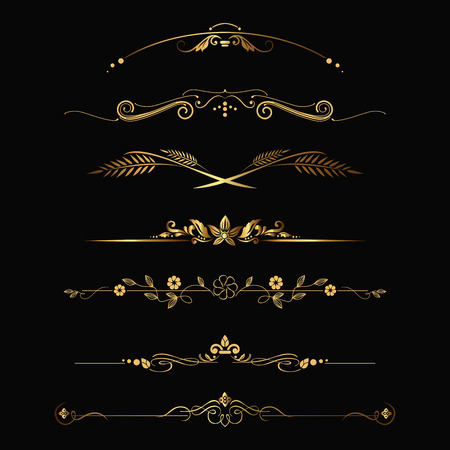 Set of design gold elements and ornamental vintage decoration. Vector illustration Çizim