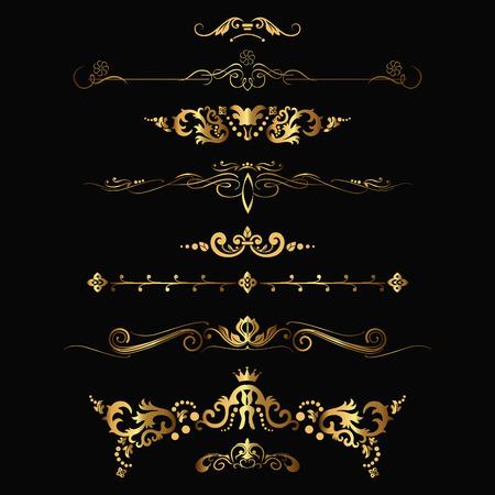 Conjunto de elementos de oro del diseño y la decoración ornamental de la vendimia. Ilustración vectorial Ilustración de vector