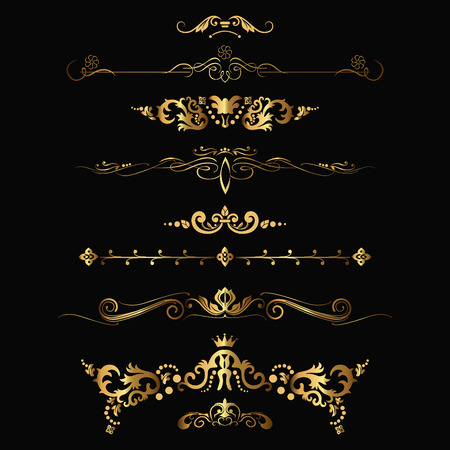 Set of design gold elements and ornamental vintage decoration. Vector illustration