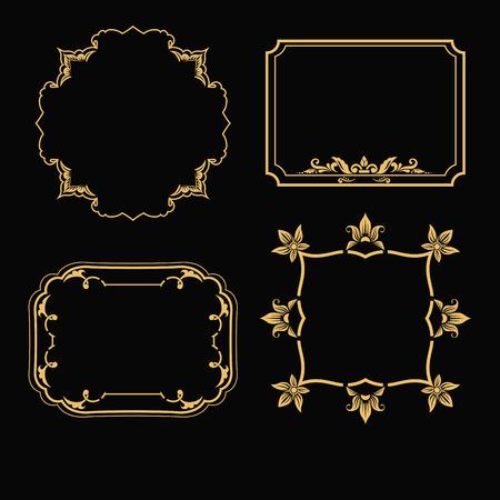 Set of  gold frames and ornamental vintage decoration. Vector illustration