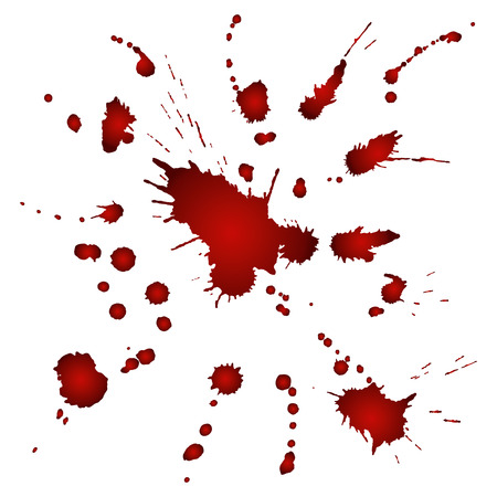 blood line: Splashes of red watercolor paint on white paper. Vector illustration