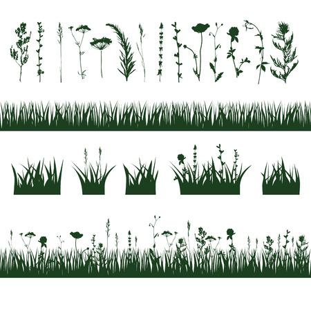 실루엣 잔디와 식물의 나뭇 가지 초원. 벡터 일러스트 레이 션
