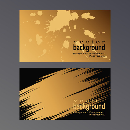 dirty bussines: Golden spots and patterns on a black background. Vector template for a business card.