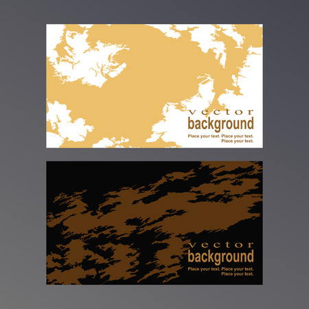 dirty bussines: Golden spots and patterns on a white and black background. Vector template for a business card.