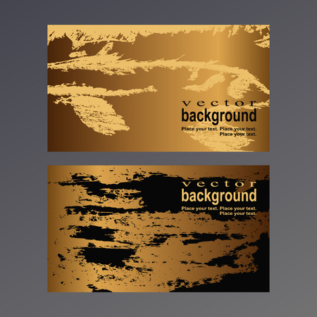 Golden spots and patterns on a gold and black background. Vector template for a business card.