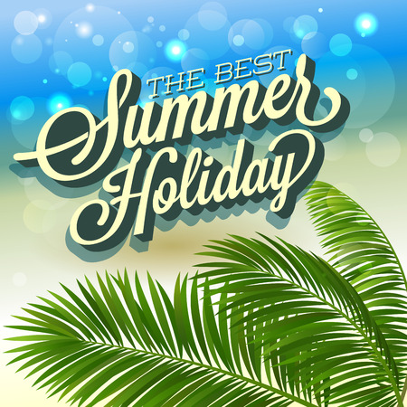 background summer: Summer abstract background with palm leaves. Vector illustration.