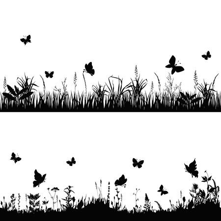 silhuetas grama e galhos de plantas com borboletas. ilustração vetorial Ilustração
