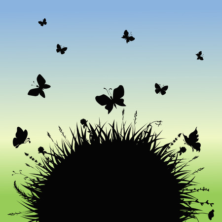 silhouettes grass tussock with butterflies. vector illustration Illustration