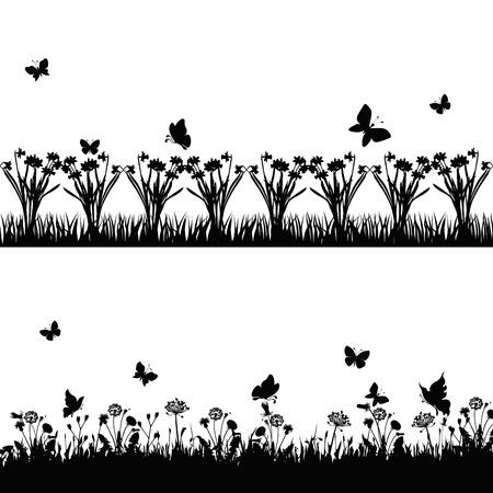실루엣 잔디와 나뭇 가지 식물과 나비. 벡터 일러스트 레이 션