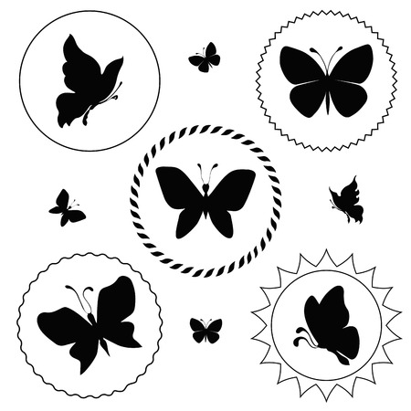 verdure: silhouettes of labels with butterflies. vector illustration