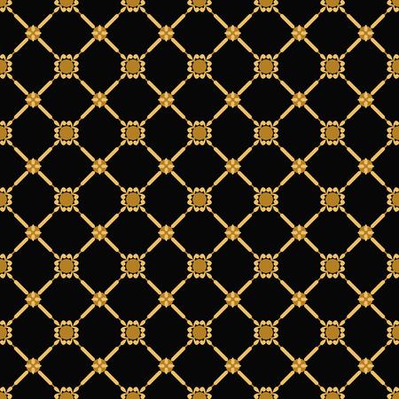 golden and black vintage seamless pattern. vector illustration Vector