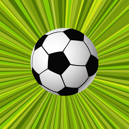 points of interest: Green background with soccer ball.vector illustration