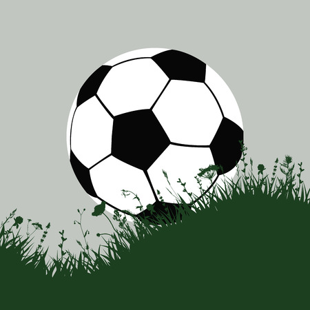 offside: background with grass and soccer ball.vector illustration Illustration