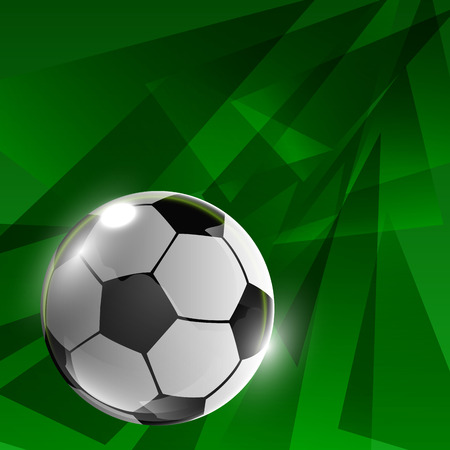 offside: Green background with soccer ball.vector illustration