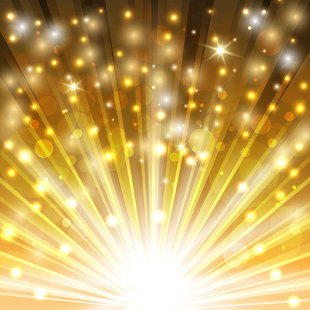 sparkle: golden sparkling background with glowing sparkles and glitter. vector illustration