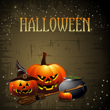 happy halloween: Happy Halloween background with pumpkins. vector illustration