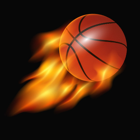 basketball ball in fire: basketball ball in fire isolated on black background. vector illustration