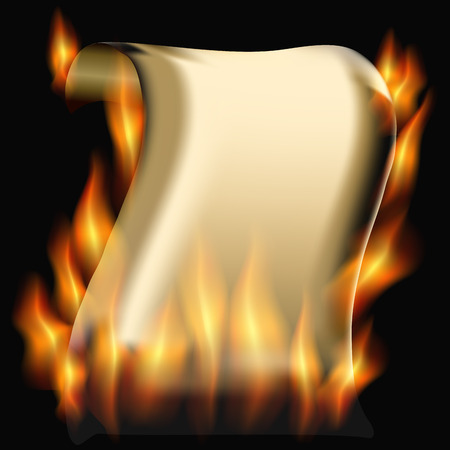 burning paper: Burning paper scroll on a black background. vector illustration