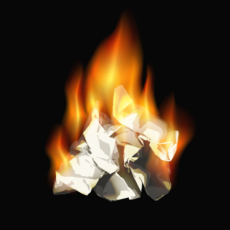 burning paper: burning paper sheet on a black background. vector illustration Illustration