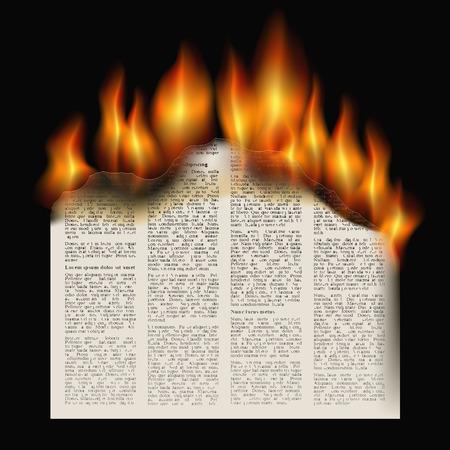 burning newspaper on a black background. vector illustration Illustration