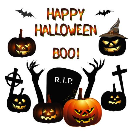 compilations: Halloween set with design elements. vector illustration Illustration