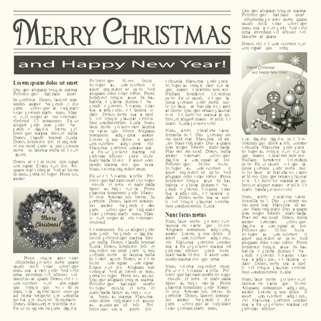 unreadable: Christmas vintage newspaper with festive cards Illustration