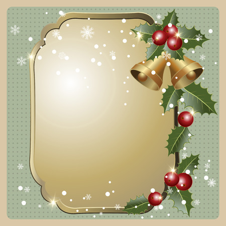 holly berries: Christmas vintage frame with holly berries and bells