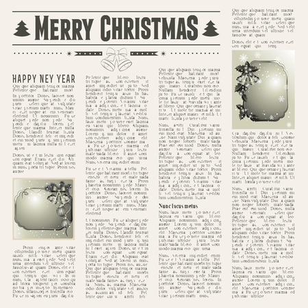 old newspaper: Christmas vintage newspaper with festive cards Illustration