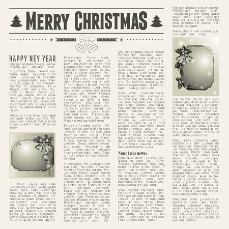 Christmas vintage newspaper with festive cards Illustration