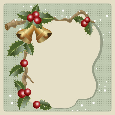 holly berries: Christmas vintage frame with holly berries and bells. vector illustration