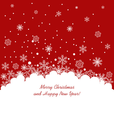 white card: Abstract christmas red background with white snowflakes. vector illustration