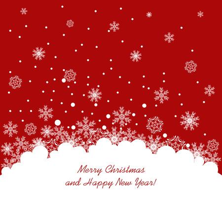 card background: Astratto sfondo rosso di Natale con i fiocchi di neve bianca. illustrazione vettoriale
