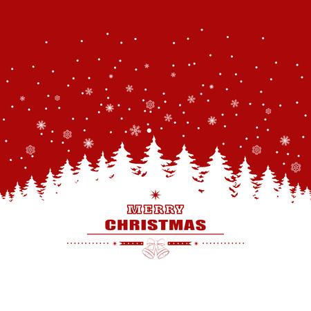 화이트 크리스마스 나무와 눈송이 빨간색 배경