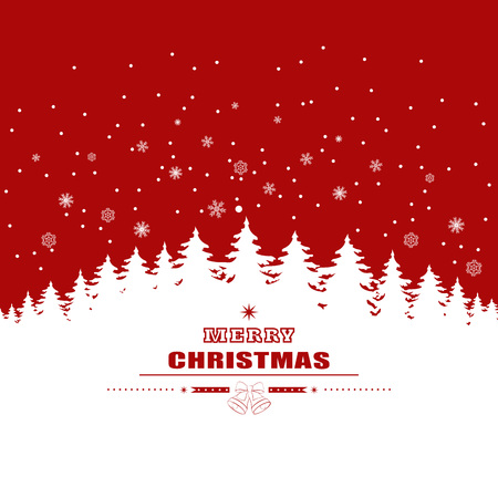 red background with white christmas trees and snowflakes