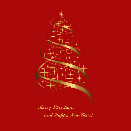 fir tree red: Golden fir on a red background, Christmas tree Illustration