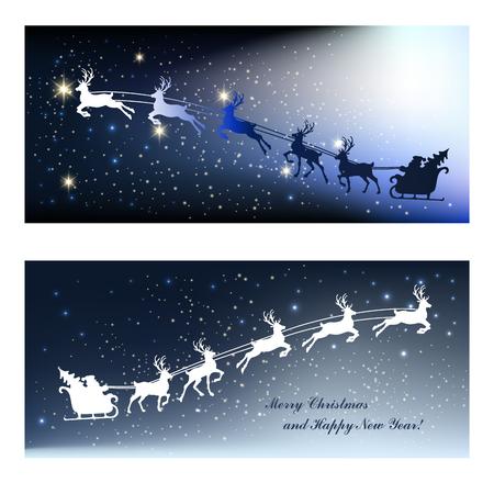 blue santa: Christmas cards with deer and Santa in sleigh
