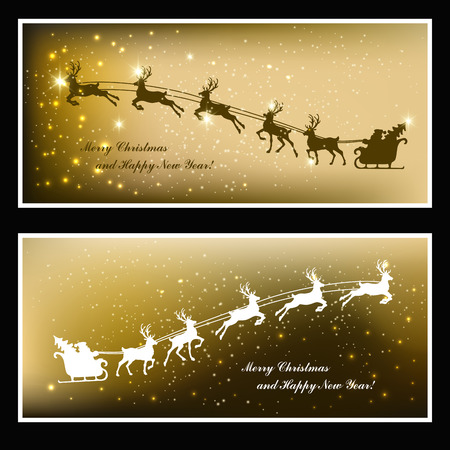 santa sleigh: Christmas cards with deer and Santa in sleigh
