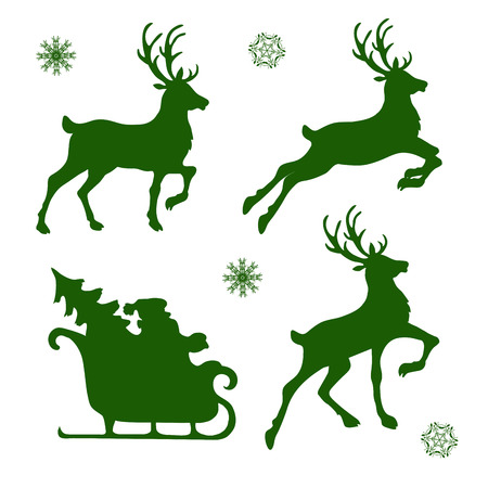 set of silhouettes of Christmas reindeer and Santa Иллюстрация