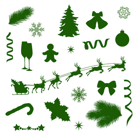 decorative items: set of silhouettes of Christmas decorative items Illustration