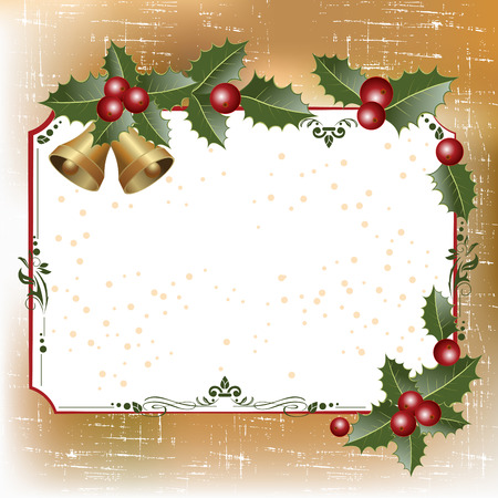 hollies: Christmas vintage frame with holly berries and bells. vector illustration