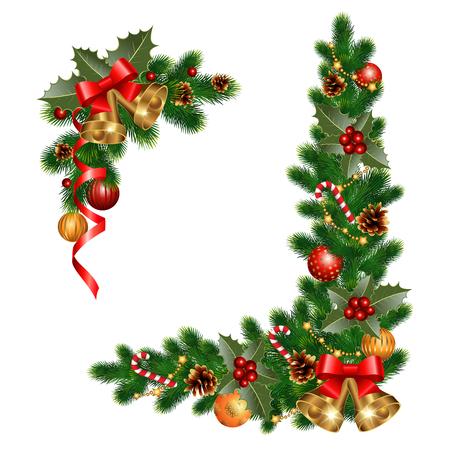 navidad: Decoraciones de Navidad con abeto y elementos decorativos Vectores