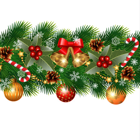 Christmas decorations with fir tree and decorative elements Çizim