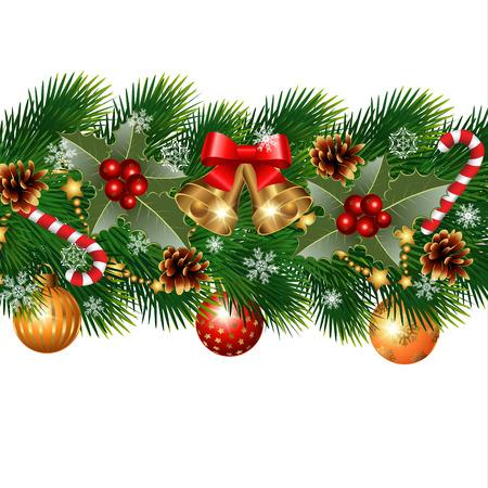 moños de navidad: Decoraciones de Navidad con abeto y elementos decorativos Vectores